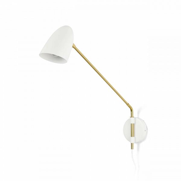 Настенный светильник PotenceНастенные<br>Настенный светильник Potence — это типичный представитель стиля модерн, характерными чертами которого являются простота форм, чистота линий и высокий уровень функциональности.<br><br><br> Настенный светильник Potence приятно сочетает классические материалы и расцветки модерна — металл опорной прямой переходит в узкий вытянутый абажур, выкрашенный в темно-серый цвет. Латунь, цвет, выбранный для арматуры, является самым распространенным и классическим решением. Эти два цвета составляют радующую гл...<br><br>stock: 0<br>Ширина: 46<br>Диаметр: 10<br>Длина: 100<br>Количество ламп: 1<br>Материал абажура: Алюминий<br>Материал арматуры: Металл<br>Мощность лампы: 40<br>Ламп в комплекте: Нет<br>Напряжение: 220-240<br>Тип лампы/цоколь: E14<br>Цвет абажура: Белый<br>Цвет арматуры: Латунь<br>Цвет провода: Белый