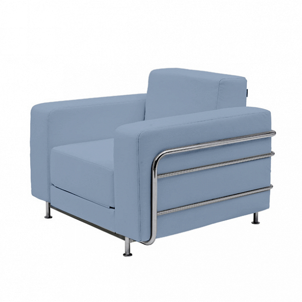 Кресло SilverИнтерьерные<br>Стильное и элегантное кресло Silver будет великолепным дополнением в любом современном интерьере. Белоснежный цвет кресла придает ему особый шарм и стиль, а строгая форма и четкие линии позволяют использовать его даже в рабочем кабинете. Оно задумано дизайнером не просто в качестве функционального предмета мебели, но и как особая изюминка, украшение всей комнатной обстановки.<br><br><br> В изделии примечательно абсолютно все, в том числе и используемые для его создания материалы. Обивка кресла...<br><br>stock: 0<br>Высота: 73<br>Высота сиденья: 38<br>Ширина: 100<br>Глубина: 38<br>Материал обивки: Хлопок, Полиэстер<br>Тип материала каркаса: Сталь<br>Коллекция ткани: Vision<br>Тип материала обивки: Ткань<br>Цвет обивки: Голубой<br>Цвет каркаса: Хром