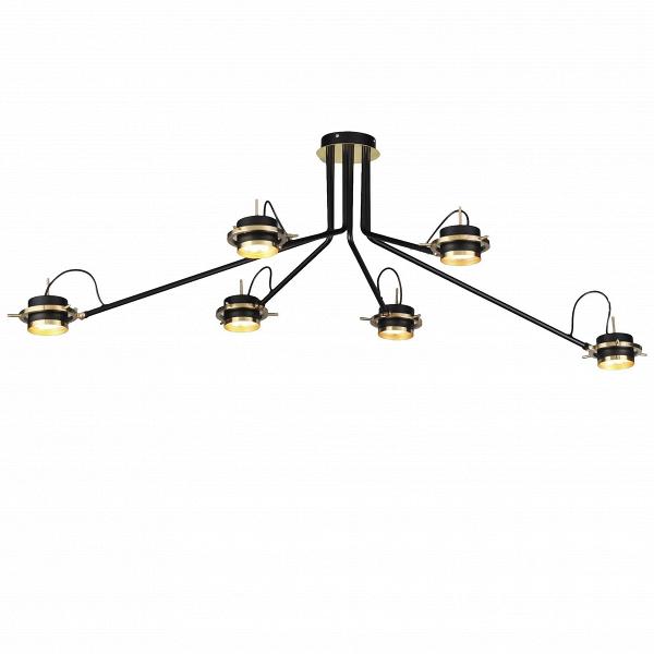 Потолочный светильник Retro 6 лампПотолочные<br>Потолочный светильник Retro 6 ламп был придуман популярным промышленным дизайнером и художником Гвидо Вролой. Прибор обладает интересной конструкцией, способной гармонично вписаться в любую комнату больших размеров. Благодаря длинным ручкам светильника свет будет достигать даже самых отдаленных уголков помещения.<br><br><br> Потолочный светильник Retro 6 ламп — это идеальное сочетание красоты и функциональности. Прибор имеет внушительные размеры, благодаря чему его удобно использовать в просторн...<br><br>stock: 0<br>Высота: 43<br>Ширина: 120<br>Длина: 140<br>Доп. цвет абажура: Латунь<br>Количество ламп: 6<br>Материал абажура: Латунь<br>Материал арматуры: Сталь<br>Ламп в комплекте: Нет<br>Тип лампы/цоколь: GX53 LED<br>Цвет абажура: Черный<br>Цвет арматуры: Черный