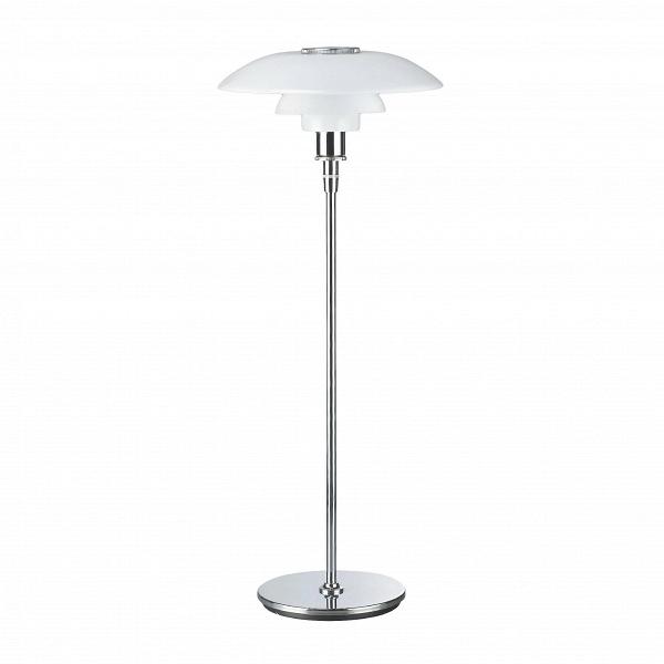 Напольный светильник PH 4,5-3,5Напольные<br>Напольный светильник PH 4,5-3,5 — это одно из лучших творений выдающегося дизайнера Поуля Хеннингсена, который славился своими функциональными и стильными работами. Изделие продумано до мелочей: свет от лампы яркий, но не бьет в глаза, а мягко рассеивается по комнате. Кроме того, светильник выполнен в очень красивом сочетании белоснежного цвета и цвета хром — такая комбинация способна преобразить все помещение и сделать его более светлым и современным.<br><br><br> Светильник имеет среднюю высот...<br><br>stock: 0<br>Высота: 125<br>Диаметр: 45<br>Материал абажура: Стекло<br>Материал арматуры: Металл<br>Ламп в комплекте: Нет<br>Цвет абажура: Белый матовый<br>Цвет арматуры: Хром<br>Дизайнер: Poul Henningsen