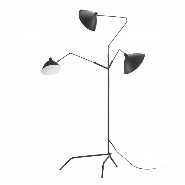 Напольный светильник Lampadaire 3 лампыНапольные<br>Напольный светильник Lampadaire 3 лампы, спроектированный известным французским дизайнером Сержем Муем, создает визуальное ощущение движения в окружающем пространстве. Изделие оживляет интерьер, делает его более интересным и органичным, нейтрализует излишнюю симметрию и создает уютную и позитивную атмосферу.<br><br><br> Все части, детали и крепления напольного светильника Lampadaire 3 лампы изготовлены из легкого и прочного алюминия. Этот металл становится все более популярным среди современных...<br><br>stock: 0<br>Высота: 210<br>Ширина: 140<br>Длина: 155<br>Количество ламп: 3<br>Материал абажура: Алюминий<br>Материал арматуры: Сталь<br>Ламп в комплекте: Нет<br>Цвет абажура: Черный<br>Цвет арматуры: Черный<br>Цвет провода: Черный<br>Дизайнер: Serge Mouille