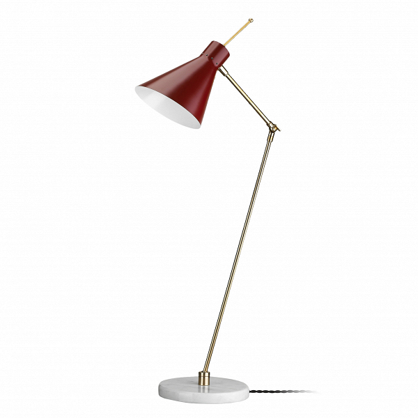 Настольный светильник Vittoriano ViganoНастольные<br>Настольный светильник Vittoriano Vigano — это яркий представитель европейского модернизма, созданный известным дизайнером Витториано Вигано. Светильник обладает простой, но изящной формой, мягкими линиями и красивой цветовой гаммой. Дизайнер предусмотрел для изделия удобные крепления и шарниры, с помощью которых вы легко установите лампу в нужное положение.<br><br><br> Абажур светильника изготовлен из прочного и легкого алюминия. Отдельно стоит сказать и об основании, которое сделано из мрамора...<br><br>stock: 0<br>Высота: 69<br>Длина: 49<br>Доп. цвет абажура: Латунь<br>Количество ламп: 1<br>Материал абажура: Алюминий<br>Материал арматуры: Мрамор<br>Ламп в комплекте: Нет<br>Цвет абажура: Красный<br>Цвет арматуры: Белый<br>Цвет провода: Черный