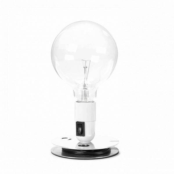 Настольный светильник Lampadina EBНастольные<br>Настольный светильник Lampadina EB спроектирован итальянским дизайнером Акилле Кастильони ещеВвВ1972 году. В ее названии автор отразил гениальную лаконичность самого светильника. Lampadina с итальянского — просто «лампа». Все коротко и ясно!В<br><br><br><br><br> Светильник выполнен в духе «сделай сам» (DIY — do it yourself), что в наших широтах понимается, как «самоделка». Такие лампы, будто вручную собранные из подручных материалов, идеально дополняют интерьеры в стиле лофт и техно....<br><br>stock: 0<br>Высота: 22,5<br>Диаметр: 12,5<br>Количество ламп: 1<br>Материал абажура: Алюминий<br>Материал арматуры: Алюминий<br>Мощность лампы: 40<br>Ламп в комплекте: Да<br>Цвет абажура: Белый<br>Цвет арматуры: Хром<br>Цвет провода: Черный<br>Дизайнер: Achille Castiglioni