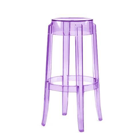 Барный стул Charles GhostБарные<br>Дизайнерский барный стул Charles Ghost (Чарльз Гост) из пластика без спинки от Cosmo (Космо). <br><br> Charles GhostВ— это прозрачные барные стулья сВочень привлекательным дизайном. Слегка изогнутые округлые ножки напоминают форму мебели 1800-х годов. Особый облик элегантных линий Charles GhostВ— это моноблок изВпрозрачного поликарбоната, который неВподдается разрушению иВможет использоваться вВлюбом месте.<br><br><br> Оригинальные барные стулья Charles Ghost выполне...<br><br>stock: 0<br>Высота: 75<br>Диаметр: 37<br>Материал каркаса: Поликарбонат<br>Тип материала каркаса: Пластик<br>Цвет каркаса: Фиолетовый<br>Дизайнер: Philippe Starck