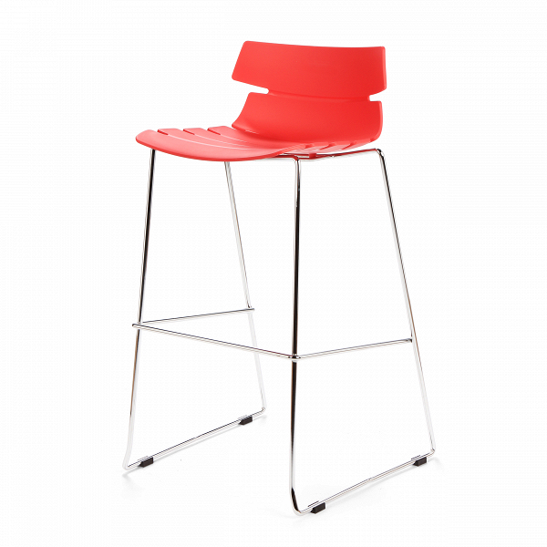Барный стул TechnoБарные<br>Дизайнерский легкий барный стул Techno (Техно) из полипропилена на стальных ножках от Cosmo (Космо). <br><br> Барный стул Techno — это своего рода интерпретация многофункциональных стульев-раковин. Однако дизайнер ушел от прямого сходства с морской фауной и оставил лишь часть оригинальной задумки, чтобы в конечном виде изделие подходило под большее количество интерьеров.<br> <br> Этот высокий оригинальный стул можно расположить за барной стойкой или столешницей в стиле хай-тек или техно. Сделанный из...<br><br>stock: 1<br>Высота: 97<br>Высота сиденья: 76<br>Ширина: 50<br>Глубина: 59<br>Цвет ножек: Хром<br>Цвет сидения: Красный<br>Тип материала сидения: Полипропилен<br>Тип материала ножек: Сталь нержавеющая