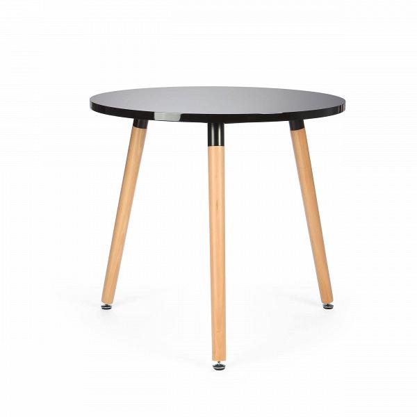 Обеденный стол FlexaОбеденные<br>Выполненный в стилистике 60-х годов стол Flexa отвечает требованиям к мебели тех времен. Особенно ценились такие качества мебели, как функциональность и лаконичность. Обязательным элементом считались ножки (в данном случае — деревянные), устойчивые и при этом не массивные, которые делали пространство более легким и визуально «прозрачным». К тому же такое решение существенно упрощало уборку помещения. Высоко ценилась простота и отсутствие излишнего декора, и гладкая белая поверхность стола...<br><br>stock: 1<br>Высота: 73<br>Диаметр: 80<br>Цвет ножек: Светло-коричневый<br>Цвет столешницы: Черный<br>Тип материала столешницы: МДФ<br>Тип материала ножек: Дерево