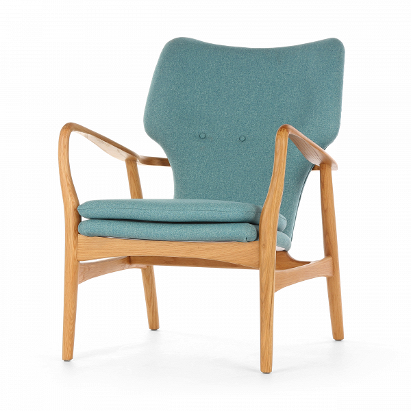 Кресло SimonИнтерьерные<br>Дизайнерское глубокое кресло Simon (Саймон) с каркасом из дерева от Cosmo (Космо).<br><br>Кресло Simon<br>— результат работы скандинавских проектировщиков, подаренный современному придирчивому потребителю, ценящему высокий уровень. Стиль этого невероятноВпрактичного кресла — отпечаток многовековой истории в области дизайна и интерьера. Изящные линии подлокотников, сглаженные углы сиденья и ножек кресла — словно пища для глаз! Несомненно, с этим высказыванием согласятся все приверженцы натура...<br><br>stock: 0<br>Высота: 85,5<br>Высота сиденья: 44<br>Ширина: 68,5<br>Глубина: 76<br>Материал каркаса: Массив дуба<br>Материал обивки: Полиэстер<br>Тип материала каркаса: Дерево<br>Коллекция ткани: Gabriel Fabric<br>Тип материала обивки: Ткань<br>Цвет обивки: Голубой<br>Цвет каркаса: Дуб<br>Дизайнер: Finn Juhl