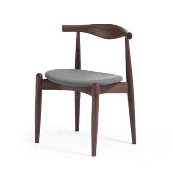 Стул ElbowИнтерьерные<br>Дизайнерский низкий креативный стул Elbow (Элбоу) из дерева с мягкой обивкой сиденья и спинки от Cosmo (Космо).<br><br>     Если вас пугают эксперименты и экстравагантные формы или ваш интерьер выдержан в эстетике минимализма, вВарсенале культового датского дизайнера Ханса Вегнера найдется ряд классических моделей для безупречно элегантной обстановки. Одна из них — стул CH20, или стул Elbow, созданный в 1956 году.<br><br><br>     Этот оригинальный стул — воплощение минимализма: низкая спинка, гори...<br><br>stock: 0<br>Высота: 74<br>Высота сиденья: 45<br>Ширина: 55<br>Глубина: 49,7<br>Материал каркаса: Массив бука<br>Тип материала каркаса: Дерево<br>Материал сидения: Хлопок<br>Цвет сидения: Серый<br>Тип материала сидения: Ткань<br>Коллекция ткани: Charles Fabric<br>Цвет каркаса: Орех<br>Дизайнер: Hans Wegner