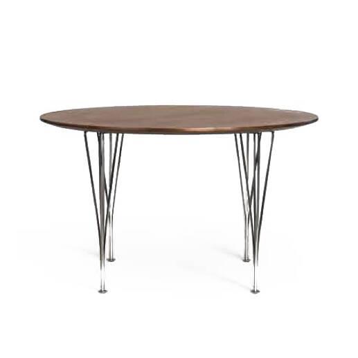 Обеденный стол Super-Circular диаметр 120Обеденные<br>Идеальная геометрия столешницы и красивые фигурный ножки – обеденный стол Super-Circular диаметр 120, придуманный известным голландским дизайнером Питом Хейном, буквально создан для того, чтобы украшать интерьер и сделать домашний быт еще более удобным и легким. Почерк дизайнера заметен во всех деталях изделия и придает ему особое очарование и шарм.<br><br><br> Работы дизайнера славятся тем, что делаются из переработанных материалов. Таким образом, их относят к «зеленой» сфере и экологически ч...<br><br>stock: 0<br>Высота: 72<br>Диаметр: 120<br>Цвет ножек: Хром<br>Цвет столешницы: Орех американский<br>Материал столешницы: МДФ, шпон ореха<br>Тип материала столешницы: МДФ<br>Тип материала ножек: Сталь