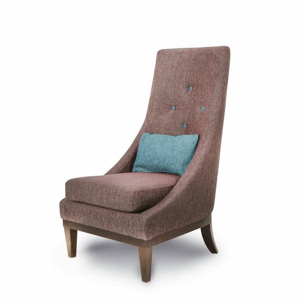 Кресло GinevraИнтерьерные<br>Дизайнерское кресло Ginevra (Гиневра) с высокой спинкой и тканевой обивкой на деревянных ножках от Sits (Ситс).<br><br><br> Ginevra — удобное стильное кресло с высокой спинкой, эргономичное и комфортное. Обивка благородного цвета и ножки изВнатурального дерева придают этому предмету мебели особый аристократизм, наводящий на мысль о временах короля Артура, отважных рыцарей и прекрасных дам. Королева Гвиневра тогда царила при дворе, покоряя сердца и заставляя биться за нее самых знаменитых рыц...<br><br>stock: 0<br>Высота: 103<br>Высота сиденья: 43<br>Ширина: 62<br>Глубина: 85<br>Цвет ножек: Орех<br>Цвет подушки: Бирюзовый<br>Материал подушки: Полиэстер, Акрил<br>Материал обивки: Полиэстер, Акрил<br>Материал пуговиц: Полиэстер, Акрил<br>Цвет пуговиц: Бирюзовый<br>Коллекция ткани: Категория ткани II<br>Тип материала обивки: Ткань<br>Тип материала ножек: Дерево<br>Цвет обивки: Коричневый