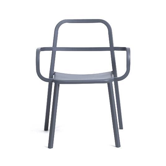 Стул Cosimo с открытой спинкой и подлокотникамиИнтерьерные<br><br><br>stock: 0<br>Высота: 78<br>Высота сиденья: 45<br>Ширина: 63,5<br>Глубина: 53,5<br>Тип материала каркаса: Сталь нержавеющя<br>Цвет каркаса: Черный<br>Дизайнер: Sean Dix