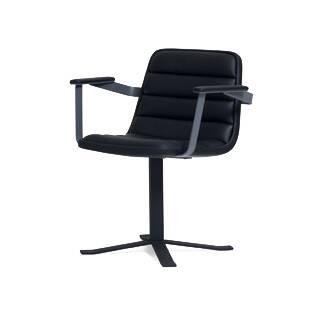Стул Ronin с подлокотникамиИнтерьерные<br><br><br>stock: 0<br>Высота: 77<br>Высота сиденья: 46<br>Ширина: 67,5<br>Глубина: 55<br>Цвет ножек: Черный<br>Цвет сидения: Черный<br>Тип материала сидения: Кожа<br>Коллекция ткани: Harry Leather<br>Тип материала ножек: Сталь нержавеющая<br>Дизайнер: Sean Dix