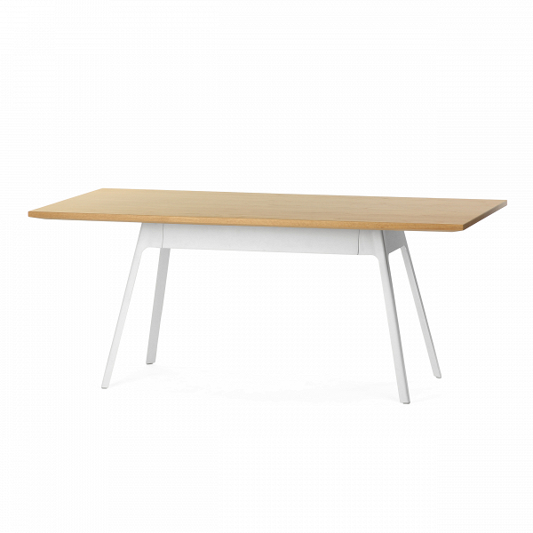 Обеденный стол Yardbird прямоугольный 180х90 с металлическими ножкамиОбеденные<br>Работы американского дизайнера Шона Дикса славятся своим непревзойденным комфортом и функциональностью. Обеденный стол Yardbird прямоугольный 180х90 с металлическими ножками – это настоящая находка для дома большой семьи. Он обладает большими размерами, что позволяет уместить за ним до восьми человек.<br><br><br> Обеденный стол Yardbird прямоугольный изготовлен из современных материалов высокого качества. Ровная прямоугольная столешница сделана из легкого и прочного материала МДФ, который покрыт...<br><br>stock: 3<br>Высота: 75<br>Ширина: 90<br>Длина: 180<br>Цвет ножек: Белый<br>Цвет столешницы: Светло-коричневый<br>Материал столешницы: МДФ, шпон дуба<br>Тип материала столешницы: МДФ<br>Тип материала ножек: Сталь<br>Дизайнер: Sean Dix