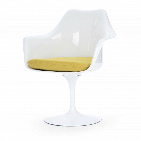 Cтул Tulip с подлокотниками и мягкой подушкойИнтерьерные<br>Дизайнерский мягкий стул Tulip (Тулип) с подлокотниками и мягкой подушкой из стекловолокна на глянцевой ножке с кожаным сиденьем от Cosmo (Космо).<br><br>     Свои основные идеи финн Ээро Сааринен черпал вВаскетичном подходе кВдизайну, воплощая ихВвВнаиболее эффективных конструкционных решениях. «Решение любой дизайнерской задачи нужно искать вВследующей, более крупной вещи,В— утверждал Сааринен. — Если загвоздка вВстуле, мыВдолжны смотреть наВто, как ...<br><br>stock: 0<br>Высота: 80,5<br>Высота сиденья: 47<br>Ширина: 66<br>Глубина: 58<br>Цвет ножек: Белый глянец<br>Тип материала каркаса: Стекловолокно<br>Материал сидения: Полиэстер<br>Цвет сидения: Желтый<br>Тип материала сидения: Ткань<br>Коллекция ткани: Gabriel Fabric<br>Тип материала ножек: Алюминий<br>Цвет каркаса: Белый глянец<br>Дизайнер: Eero Saarinen