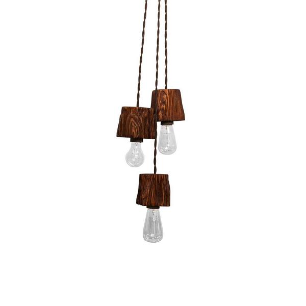 Подвесной светильник Querk 3Подвесные<br><br><br>stock: 0<br>Высота: 10<br>Ширина: 10<br>Длина: 10<br>Длина провода: 130<br>Количество ламп: 3<br>Материал абажура: Сосна<br>Мощность лампы: 40<br>Ламп в комплекте: Нет<br>Напряжение: 230<br>Тип лампы/цоколь: E27<br>Тип производства: Ручное производство<br>Цвет абажура: Махагон<br>Цвет провода: Коричневый