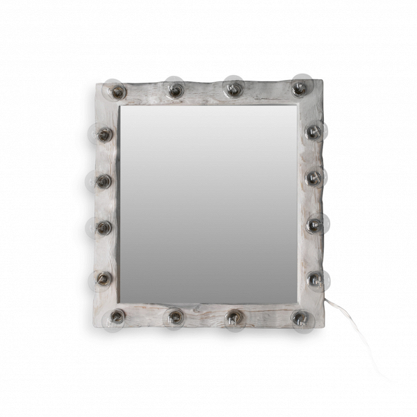 Зеркало с подсветкой Cube_МНастенные<br><br><br>stock: 0<br>Высота: 70<br>Ширина: 10<br>Длина: 65<br>Количество ламп: 16<br>Материал арматуры: Сосна<br>Мощность лампы: 40<br>Ламп в комплекте: Нет<br>Напряжение: 230<br>Тип лампы/цоколь: E27<br>Цвет арматуры: Белый<br>Цвет провода: Белый