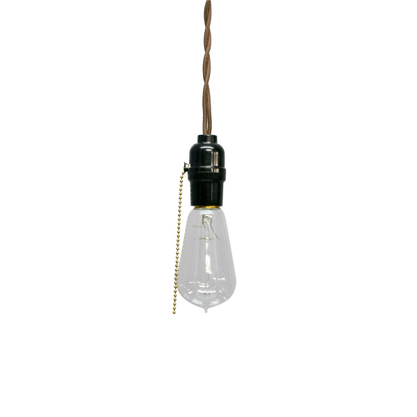 Подвесной светильник EasyПодвесные<br><br><br>stock: 5<br>Диаметр: 7<br>Длина провода: 130<br>Количество ламп: 1<br>Материал абажура: Сосна<br>Мощность лампы: 40<br>Ламп в комплекте: Да<br>Напряжение: 230<br>Тип лампы/цоколь: E27<br>Тип производства: Ручное производство<br>Цвет абажура: Черный<br>Цвет провода: Коричневый