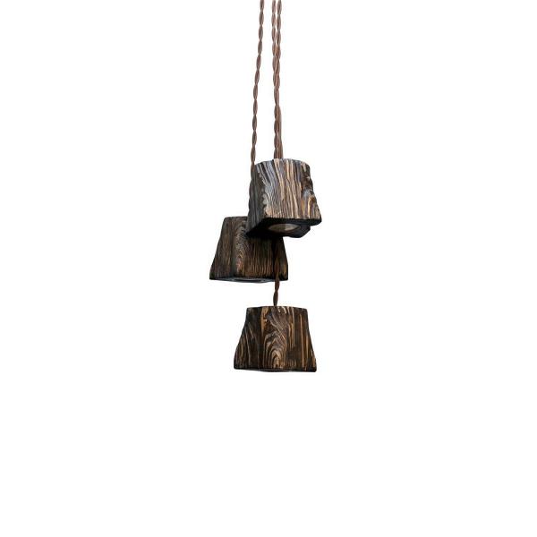 Подвесной светильник QuerkLED_03Подвесные<br><br><br>stock: 0<br>Высота: 10<br>Ширина: 10<br>Длина: 10<br>Длина провода: 130<br>Количество ламп: 3<br>Материал абажура: Сосна<br>Мощность лампы: 5<br>Ламп в комплекте: Да<br>Напряжение: 230<br>Тип лампы/цоколь: GU10 LED<br>Тип производства: Ручное производство<br>Цвет абажура: Палисандр<br>Цвет провода: Коричневый