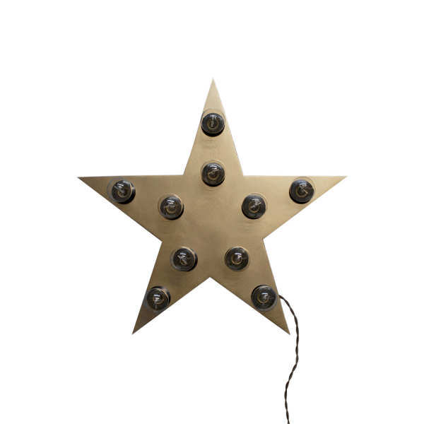 Декоративный светильник StarНастенные<br><br><br>stock: 0<br>Ширина: 70<br>Длина: 70<br>Количество ламп: 10<br>Материал абажура: Фанера<br>Мощность лампы: 40<br>Ламп в комплекте: Нет<br>Напряжение: 230<br>Тип лампы/цоколь: E27<br>Тип производства: Ручное производство<br>Цвет абажура: Золотой<br>Цвет провода: Коричневый