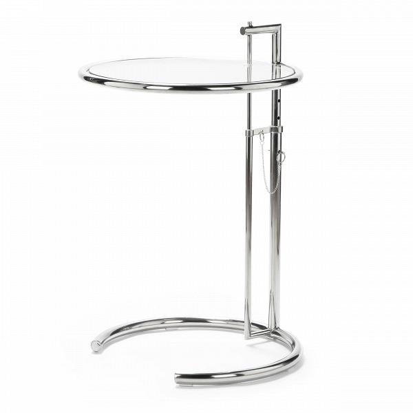 Кофейный стол E1027Кофейные столики<br>Дизайнерский кофейный стол E1027 со стеклянной столешницой на стальной ножке от Cosmo (Космо).<br><br> Ирландка Эйлин Грей, жившая и работавшая во Франции, умудрилась обойти своих знаменитых коллег-мужчин и получить признание и титул одного из лучших дизайнеров XX века. Ее творения сочетали простоту, комфорт и индивидуальность. Начала Эйлин с ар-деко и старинной японской техники лакировки, а позже увлеклась модными в начале века идеями функционализма и философией Ле Корбюзье. В погоне за чистото...<br><br>stock: 20<br>Высота: 64,5-105<br>Диаметр: 51<br>Цвет ножек: Хром<br>Цвет столешницы: Прозрачный<br>Тип материала столешницы: Стекло закаленное<br>Тип материала ножек: Сталь нержавеющая<br>Дизайнер: Eileen Gray