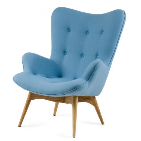 Кресло Contour 2Интерьерные<br>Дизайнерское глубокое кресло Contour 2 (Кантур 2) обивкой из ткани на деревянных ножках от Cosmo (Космо).<br><br><br> Австралийцы любят хороший дизайн воВвсем, отВоформления винных бочонков доВсерферных досок. Одним изВсамых ярких дизайнеров стал художник Грант Фезерстон, который начал заниматься дизайном в сороковых годах прошлого столетия иВсВтех пор стал иконой стиля воВвсем мире.<br><br><br> Идеальное как для прихожей, так иВдля гостиной, оригинальное кресл...<br><br>stock: 0<br>Высота: 91<br>Высота сиденья: 37<br>Ширина: 73,5<br>Глубина: 83<br>Цвет ножек: Дуб<br>Материал ножек: Массив дуба<br>Материал обивки: Хлопок, Лен<br>Коллекция ткани: Ray Fabric<br>Тип материала обивки: Ткань<br>Тип материала ножек: Дерево<br>Цвет обивки: Светло-голубой<br>Дизайнер: Grant Featherston