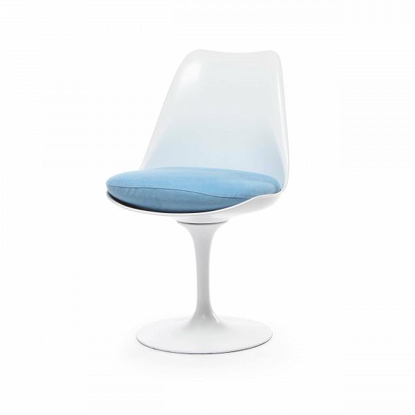 Стул TulipИнтерьерные<br>Дизайнерский стул Tulip (Тьюлип) из стекловолокна на алюминиевой ножке от Cosmo (Космо).<br><br> Стул Tulip — это один из самых знаменитых предметов мебели, он был разработан в 1958 году Ээро Саариненом. Поистине футуристический дизайн и классика модерна. Первый в мире одноногий стул изменил будущее дизайна мебели. Формой стул напоминает бокал или, как видно из названия, — тюльпан. Уникальное основание постамента обеспечивает устойчивость и выглядит эстетически привлекательным. Избавив стул от тр...<br><br>stock: 7<br>Высота: 81<br>Высота сиденья: 46<br>Ширина: 49,5<br>Глубина: 53<br>Цвет ножек: Белый матовый<br>Механизмы: Поворотная функция<br>Тип материала каркаса: Стекловолокно<br>Материал сидения: Хлопок, Лен<br>Цвет сидения: Голубой<br>Тип материала сидения: Ткань<br>Коллекция ткани: Ray Fabric<br>Тип материала ножек: Алюминий<br>Цвет каркаса: Белый матовый<br>Дизайнер: Eero Saarinen