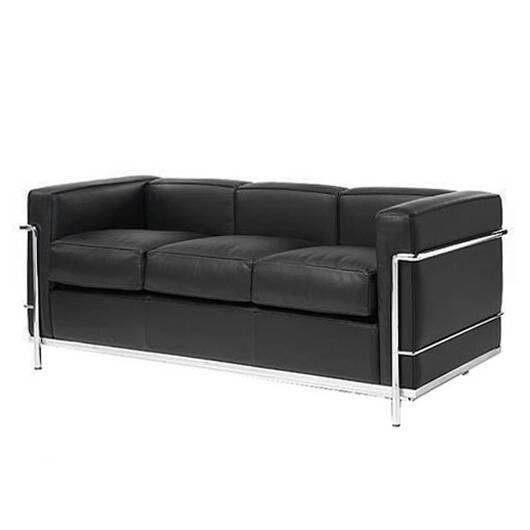 Диван LC3Трехместные<br>Дизайнерский черный диван LC3 (ЛС3) из кожи на ножках в цвете хром от Cosmo (Космо).<br> Сведенная воедино единственно возможная комбинация цвета, формы иВматериаловВ— это тот краеугольный камень, наВкотором стоит диван LC3, разработанный ЛеВКорбюзье, Пьером Жаннере иВШарлоттой Перьен.<br><br><br> Миссия дивана LC3 состоит вВтом, чтобы высветить собой оригинальные особенности работ сторонников современного рационализма иВпредставить ихВинновационное воодушевл...<br><br>stock: 0<br>Высота: 70<br>Глубина: 70<br>Длина: 180<br>Тип материала каркаса: Сталь нержавеющя<br>Коллекция ткани: Deluxe<br>Тип материала обивки: Кожа<br>Цвет обивки: Черный<br>Цвет каркаса: Хром<br>Дизайнер: Le Corbusier
