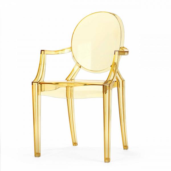 Стул Louis GhostИнтерьерные<br>Дизайнерский глянцевый жесткий пластиковый стул Louis Ghost (Луи Гост) с круглым сиденьем на четырех ножках от Cosmo (Космо).<br><br>     Волна любви к маэстро промышленного дизайна французу Филиппу Старку, захлестнувшая мир несколько лет назад, отнюдь не спадает. Его предметы давно стали must have любого стильного интерьера, и стул Louis Ghost не исключение. ЭтотВбестселлер — ироничная фантазия на тему классического кресла в стиле Людовика XVI, не зря же и назван он «призрак Людовика». На б...<br><br>stock: 20<br>Высота: 92,5<br>Высота сиденья: 48,5<br>Ширина: 54<br>Глубина: 57,5<br>Материал каркаса: Поликарбонат<br>Тип материала каркаса: Пластик<br>Цвет каркаса: Желтый прозрачный<br>Дизайнер: Philippe Starck