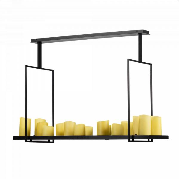 Потолочный светильник Altar 17 ламп IПотолочные<br>Потолочный светильник Altar 17 ламп I изготовлен дизайнером Кевином Райлли из стали, выкрашенной в черный цвет. Для обеспечения максимальной долговечности во время изготовления светильника использовались только современные технологии обработки.<br><br><br> Отличительной чертой потолочного светильника серии Altar является его оригинальная форма. Так, данный аксессуар выполнен в виде металлической подставки со свечами, подвешиваемой к потолку, при этом «свечи» излучают яркий электрический свет.<br><br>stock: 0<br>Высота: 82,5<br>Ширина: 40<br>Длина: 123<br>Количество ламп: 17<br>Материал абажура: Полистоун<br>Материал арматуры: Сталь<br>Мощность лампы: 1<br>Ламп в комплекте: Нет<br>Тип лампы/цоколь: LED<br>Цвет абажура: Черный<br>Дизайнер: Kevin Reilly