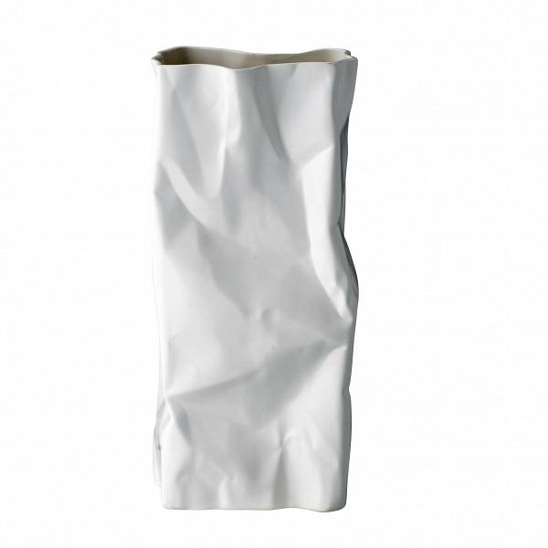 Ваза Bloomingville белая с эффектом мятой бумагиВазы<br><br><br>stock: 0<br>Высота: 40<br>Ширина: 18<br>Глубина: 13<br>Материал: Керамогранит<br>Цвет: Белый
