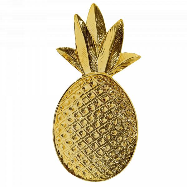 Декоративный поднос Bloomingville в форме ананасаПосуда<br><br><br>stock: 1<br>Ширина: 9<br>Материал: Керамика<br>Цвет: Золотой<br>Длина: 19