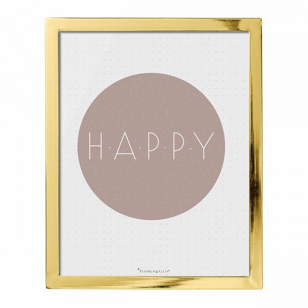 Картина Bloomingville HappyНастенный декор<br><br><br>stock: 0<br>Высота: 25<br>Ширина: 20<br>Материал: Металл<br>Цвет: Золотой<br>Материал дополнительный: Стекло<br>Цвет дополнительный: Белый