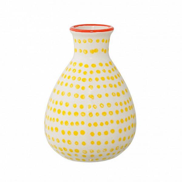 Ваза Bloomingville JagВазы<br><br><br>stock: 1<br>Высота: 11<br>Материал: Керамика<br>Цвет: Молочный<br>Диаметр: 6.5<br>Цвет дополнительный: Желтый
