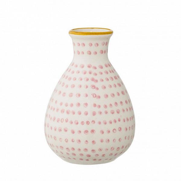 Ваза Bloomingville JagВазы<br><br><br>stock: 1<br>Высота: 11<br>Материал: Керамика<br>Цвет: Белый<br>Диаметр: 6.5<br>Цвет дополнительный: Розовый