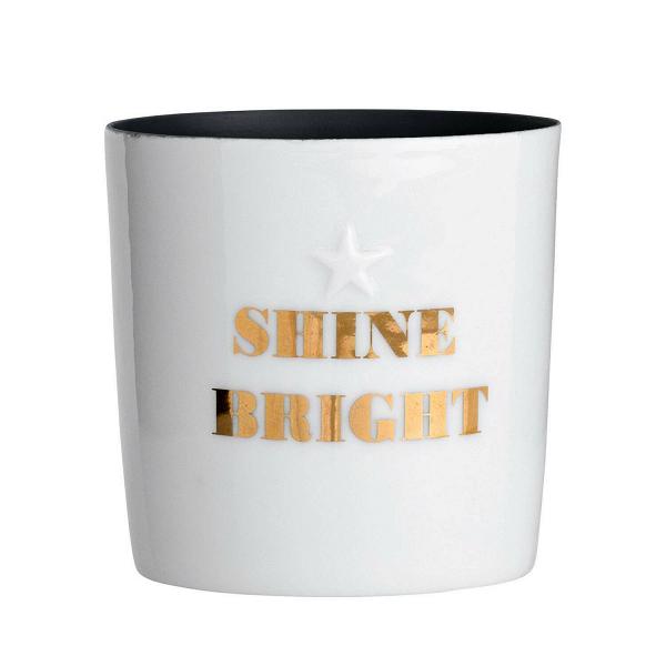 Подсвечник Bloomingville Shine BrightПодсвечники и свечи<br><br><br>stock: 2<br>Высота: 6.5<br>Материал: Фарфор<br>Цвет: Белый<br>Диаметр: 6.5<br>Цвет дополнительный: Золотой