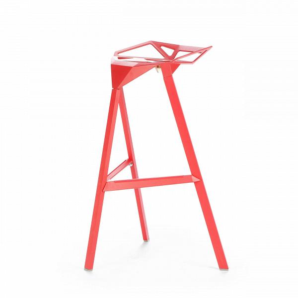 Барный стул OneБарные<br>Дизайнерский креативный барный стул One (Уан) из алюминия на трех ножках от Cosmo (Космо). <br><br>     Легендарный барный стул One отличается стильным и эпатажным внешним видом, при этом он очень удобен в использовании. Литые алюминиевые планки, причудливо соединtнные между собой в практичное сиденье, в своей передней части переходят в каркасную опору из трех широко поставленных ножек. Индустриальный минимализм такого стула неоспорим, но для конструктивного стиля он также превосходно подойдет. Л...<br><br>stock: 0<br>Высота: 82,5<br>Высота сиденья: 77<br>Ширина: 41<br>Глубина: 36<br>Тип материала каркаса: Алюминий<br>Цвет каркаса: Красный<br>Дизайнер: Konstantin Grcic