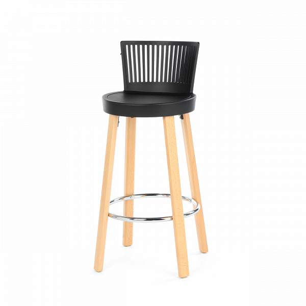 Барный стул TrinidadБарные<br>Дизайн барного стула Trinidad выделяется своим неповторимым стилем. Дизайнер создал не просто стул, но настоящее мебельное произведение искусства, которое можно отнести ко многим современным стилям, например к хай-теку, лофту, модерну и многим другим. «Вкусное» оформление данной модели способно внести разнообразие и яркие черты в любую обстановку.<br><br><br> Дизайн стула продуман таким образом, чтобы на нем можно было сидеть расслабленно, но не теряя осанку и тонус. Сиденье модели изготовлено...<br><br>stock: 9<br>Высота: 96.5<br>Высота сиденья: 76<br>Ширина: 39<br>Глубина: 41<br>Цвет ножек: Светло-коричневый<br>Материал ножек: Массив бука<br>Цвет сидения: Черный<br>Тип материала сидения: Полипропилен<br>Тип материала ножек: Дерево