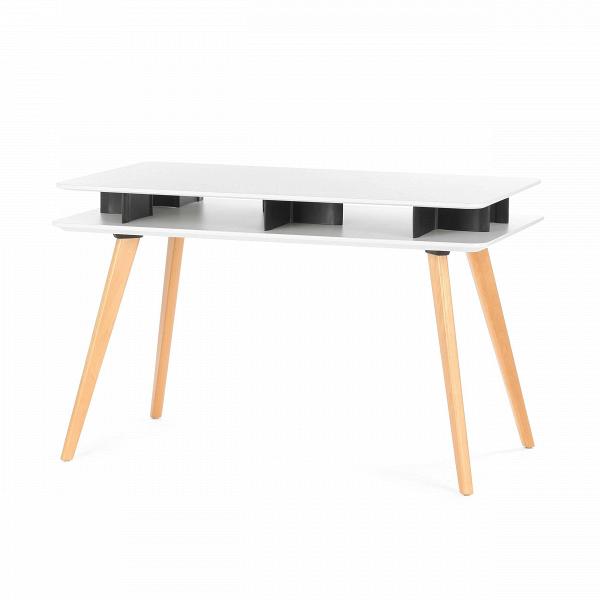 Письменный стол StrettoРабочие столы<br>Хотя современный стиль хай-тек в чистом виде подразумевает отсутствие деревянных деталей в интерьере, некоторые изделия все же частично состоят из деревянного массива. Такое необычное сочетание делает данный стиль более живым и уютным. Письменный стол Stretto — яркий тому пример. В его дизайне гармонично сошлись высокие технологии и природное начало.<br><br><br> Изделие создано из полипропилена и массива бука. Первый материал идеален с точки зрения практичности и прочности, он прост в уходе и ...<br><br>stock: 10<br>Высота: 75<br>Ширина: 70<br>Длина: 120<br>Цвет ножек: Светло-коричневый<br>Цвет столешницы: Белый<br>Материал ножек: Массив бука<br>Тип материала столешницы: Полипропилен<br>Тип материала ножек: Дерево