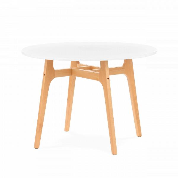 Обеденный стол Eiffel диаметр 100Обеденные<br>Выполненный в стилистике 60-х годов обеденный стол Eiffel диаметр 100 отвечает требованиям к мебели тех времен. Особенно ценились такие качества мебели, как функциональность и лаконичность. Обязательным элементом считались ножки (в данном случае — деревянные), устойчивые и при этом не массивные, которые делали пространство более легким и визуально «прозрачным». К тому же такое решение существенно упрощало уборку помещения. Высоко ценилась простота и отсутствие излишнего декора, и гладкая ...<br><br>stock: 26<br>Высота: 71<br>Диаметр: 100<br>Цвет ножек: Светло-коричневый<br>Цвет столешницы: Белый<br>Материал ножек: Массив бука<br>Тип материала столешницы: Полипропилен<br>Тип материала ножек: Дерево