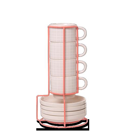 Набор из 4 чашек с блюдцами GridПосуда<br>Набор изВ4 чашек сВблюдцами Grid отлично подойдет для утреннего кофе иВраскрасит ваш день.<br>Нежный набор изВ4 чашек сВблюдцами Grid сВудобной подставкой сохранит вашу кухню вВпорядке. Сет занимает мало места иВосвежает интерьер, аВваши гости обязательно обратят внимание наВинтересный дизайнерский набор.<br><br>stock: 0<br>Высота: 6<br>Материал: Керамика<br>Цвет: Светло-розовый/Light pink<br>Диаметр: 7