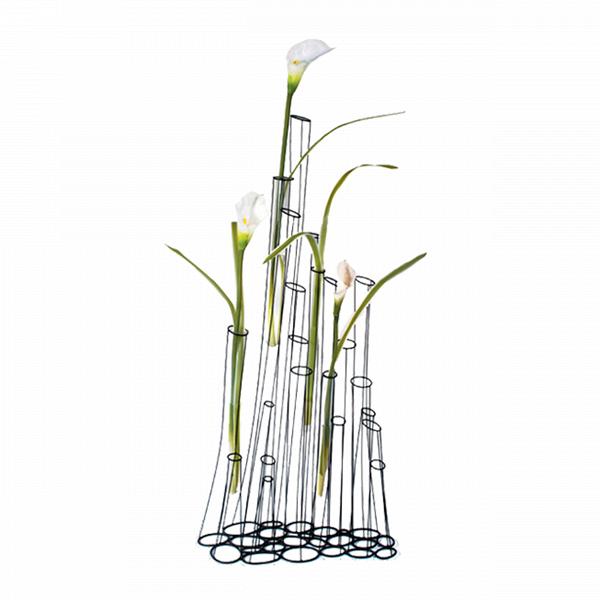 Напольная ваза Crokkis 22 колбыВазы<br>Напольная ваза Crokkis 22 колбы<br>создает впечатление, что ваши цветы просто парят вВвоздухе. Она состоит изВстеклянных пробирок, закрепленных вВметаллическом каркасе. Трубки могут быть заполнены водой, цветами или любым другим декоративным материалом. Обладатель напольной вазы Crokkis сам заканчивает процесс создания этого продукта, непосредственно участвуя как дизайнер.<br><br><br><br> «Металлические провода искривлены иВсварены таким образом, чтобы напомнить эскизы отВ...<br><br>stock: 0<br>Высота: 120<br>Ширина: 30<br>Материал: Металл<br>Цвет: Черный<br>Длина: 56<br>Наполнитель: Стекло<br>Дизайнер: Kenneth Cobonpue