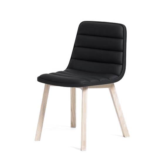 Стул Ronin с деревянными ножкамиИнтерьерные<br>Стул Ronin с деревянными ножками – элегантное деловое решение для дома и офиса, где преобладает спокойная атмосфера, классические цвета и уютные формы. Дизайн для модели разработал Шон Дикс, чьи главные принципы творчества состоят в максимальном комфорте, функциональности и современном стиле.<br><br><br> Этот стилистический вектор отлично подчеркивается выбранными для изделия материалами. Для изготовления ножек выбран массив дуба – потрясающе крепкая и надежная древесина, обладающая, прекрасными...<br><br>stock: 0<br>Высота: 80<br>Высота сиденья: 45<br>Ширина: 40<br>Глубина: 55<br>Цвет ножек: Беленый дуб<br>Материал ножек: Массив дуба<br>Цвет сидения: Черный<br>Тип материала сидения: Кожа<br>Тип материала ножек: Дерево