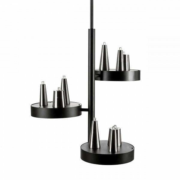 Подвесной светильник Table d'Amis 3Подвесные<br>Компания Brand van Egmond появилась в Голландии 25 лет назад. Архитектор Уильям Бранд и скульптор Аннет ван Эгмонд основали небольшую частную студию, где проектировали и создавали вручную настоящие шедевры. Люстры, светильники, торшеры и бра были настолько необычными и выразительными, что вскоре стали украшением домов многих знаменитостей и королевских апартаментов. Со временем маленькая студия разрослась — теперь это огромные производственные площади и ежегодные показы новых коллекций.<br>...<br><br>stock: 2<br>Высота: 155,5<br>Диаметр: 73<br>Доп. цвет абажура: Матовый никель<br>Количество ламп: 12<br>Материал абажура: Сталь<br>Мощность лампы: 1<br>Ламп в комплекте: Нет<br>Тип лампы/цоколь: LED<br>Цвет абажура: Черный матовый<br>Дизайнер: William Brand, Annet van Egmond