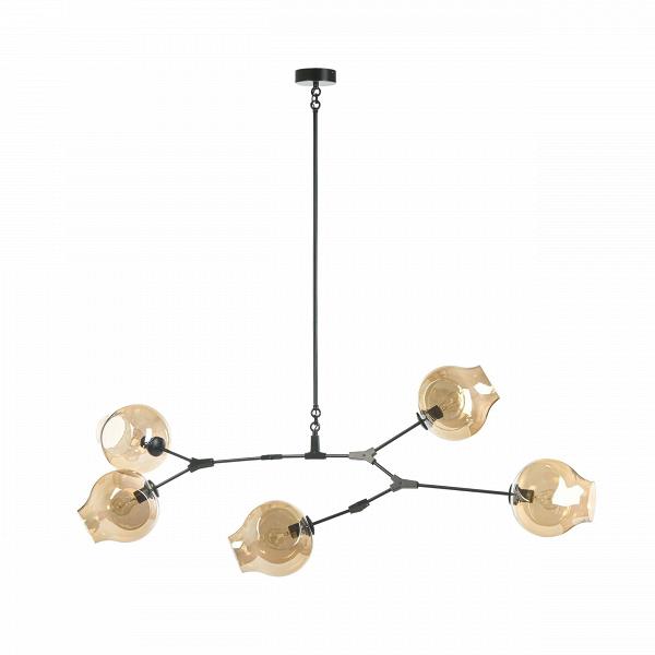 Подвесной светильник Branching Bubbles Summer 5 ламп высота 90Подвесные<br>Подвесной светильник Branching Bubbles Summer 5 ламп высота 90 — это стильное, современное изделие направления лофт, созданное известным американским дизайнером Линдси Адельман. Адельман известна своей особенной способностью сочетать в своих творениях современный индустриализм и плавность и естественность природных форм и явлений. Работы дизайнера выставлялись во многих известных музеях, таких как Национальный музей дизайна Купер-Хьюитт, Музей дизайна в Майами и многих других.<br><br><br> Плафо...<br><br>stock: 0<br>Высота: 90<br>Ширина: 60<br>Диаметр: 23<br>Длина: 163<br>Количество ламп: 5<br>Материал абажура: Стекло<br>Материал арматуры: Сталь<br>Мощность лампы: 40<br>Ламп в комплекте: Нет<br>Напряжение: 220<br>Тип лампы/цоколь: E27<br>Цвет абажура: Коньячный<br>Цвет арматуры: Черный<br>Дизайнер: Lindsey Adams Adelman