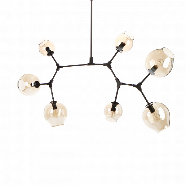 Потолочный светильник Branching Bubbles 7 лампПотолочные<br>Этот потолочный светильник не оставит равнодушными тех, кто стремится привнести частичку природы в свой дом. Он является настоящим хитросплетением форм и материалов — металлические крепления, напоминающие ветки, завершаются выдутыми вручную стеклянными плафонами. Светильник похож на цветущее дерево, это работа американского промышленного дизайнера Линдси Адельман, которая черпает свое вдохновение именно из выразительных природных сочетаний.<br><br><br> Потолочный светильник Branching Bubbles 7 ...<br><br>stock: 0<br>Высота: 123<br>Ширина: 165<br>Диаметр: 60<br>Количество ламп: 7<br>Материал абажура: Стекло<br>Материал арматуры: Металл<br>Мощность лампы: 40<br>Ламп в комплекте: Нет<br>Напряжение: 220<br>Тип лампы/цоколь: E27<br>Цвет абажура: Прозрачный<br>Цвет арматуры: Черный матовый<br>Дизайнер: Lindsey Adams Adelman