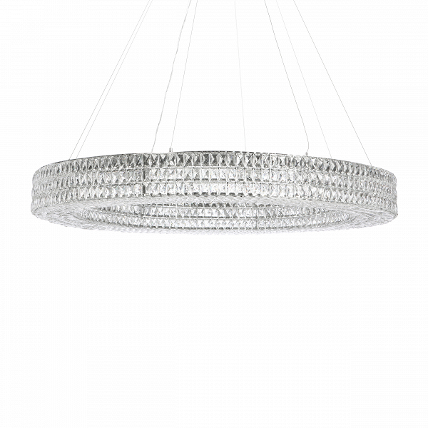 Подвесной светильник Spiridon диаметр 110Подвесные<br><br><br>stock: 20<br>Высота: 11<br>Диаметр: 110<br>Количество ламп: 15<br>Материал абажура: Хрусталь<br>Материал арматуры: Металл<br>Мощность лампы: 25<br>Тип лампы/цоколь: E14<br>Цвет абажура: Прозрачный<br>Цвет арматуры: Хром