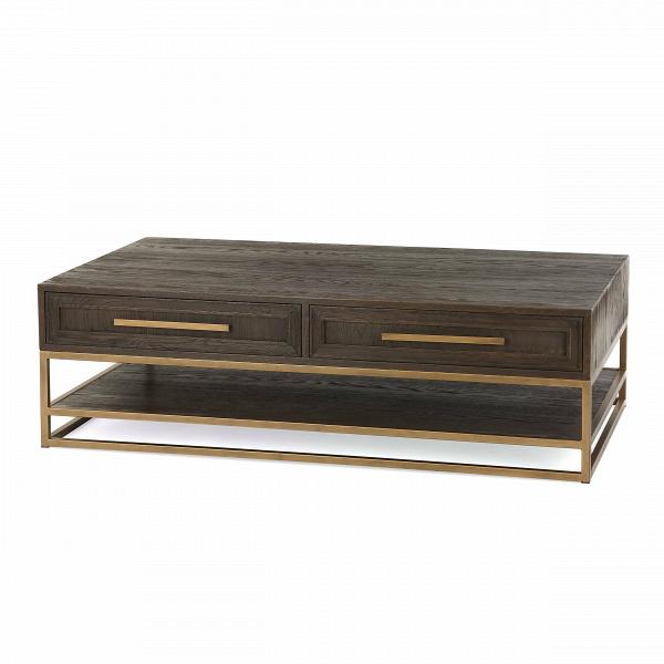 Кофейный стол Bullard 140х80 смКофейные столики<br>Кофейный стол Bullard 140x80 см может прекрасно дополнить гостиную комнату. Благодаря своим размерам на нем удобно устраивать небольшие чаепития для всей семьи или посиделки с друзьями. Кроме того, дизайнер оборудовал изделие вместительным шкафчиком, в котором можно хранить самые разные бытовые и личные предметы.<br><br><br> Качественные материалы подчеркивают благородное происхождение кофейного стола Bullard 140x80 см. Столешницы и шкафчик изготовлены из ценного дубового массива, который по пр...<br><br>stock: 8<br>Высота: 42<br>Ширина: 80<br>Длина: 140<br>Цвет столешницы: Темно-коричневый<br>Материал столешницы: Массив дуба<br>Тип материала каркаса: Металл<br>Тип материала столешницы: Дерево<br>Цвет каркаса: Золотой