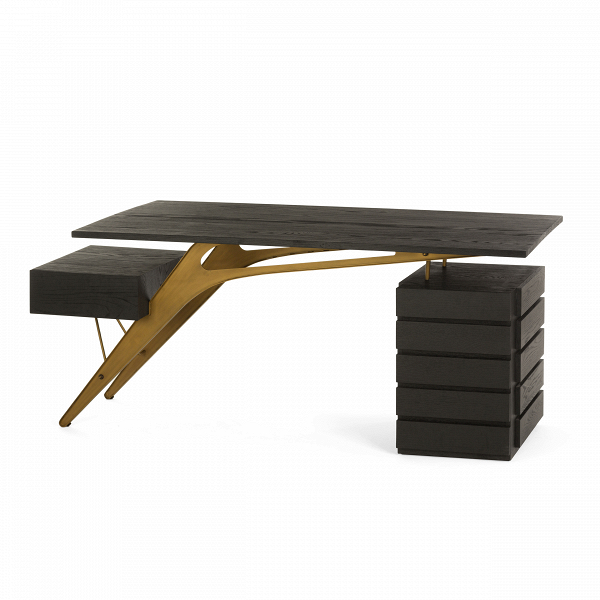 Рабочий стол NailedРабочие столы<br>Если вам наскучили привычные формы и цвета в интерьере и хочется чего-нибудь нового, необычного и «вкусного»? Обратите особое внимание на совершенно уникальную модель письменного стола. Рабочий стол Nailed разработан дизайнером не только в качестве функционального и удобного предмета домашней обстановки, но и в качестве настоящего украшения для любого домашнего интерьера!<br><br><br> Форма стола совершенно необычна, но при этом очень удобна и практична. Под столом много свободного пространства...<br><br>stock: 0<br>Высота: 78<br>Ширина: 80<br>Длина: 180<br>Цвет ножек: Золотой<br>Цвет столешницы: Черный<br>Материал столешницы: Массив дуба<br>Тип материала столешницы: Дерево<br>Тип материала ножек: Металл