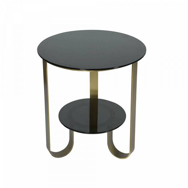 Кофейный стол AdelphiКофейные столики<br>Кофейный стол Adelphi обладает простым, непритязательным дизайном, который в любой интерьер привнесет атмосферу красоты и легкого изящества. Дизайнер постарался сделать свое творение не только красивым, но и функциональным – стол имеет два уровня, что удобно для небольшого чаепития, когда на верхний уровень можно поставить чашки, а на нижний – сладости.<br><br><br> Кофейный стол Adelphi изготовлен из качественных и прочных материалов. Столешницы сделаны из стекла, а ножки – из стали. Темный цвет...<br><br>stock: 0<br>Высота: 60<br>Диаметр: 55<br>Цвет столешницы: Черный<br>Тип материала каркаса: Металл<br>Тип материала столешницы: Стекло<br>Цвет каркаса: Золото антикварное