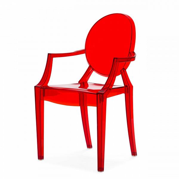 Стул Louis GhostИнтерьерные<br>Дизайнерский глянцевый жесткий пластиковый стул Louis Ghost (Луи Гост) с круглым сиденьем на четырех ножках от Cosmo (Космо).<br><br>     Волна любви к маэстро промышленного дизайна французу Филиппу Старку, захлестнувшая мир несколько лет назад, отнюдь не спадает. Его предметы давно стали must have любого стильного интерьера, и стул Louis Ghost не исключение. ЭтотВбестселлер — ироничная фантазия на тему классического кресла в стиле Людовика XVI, не зря же и назван он «призрак Людовика». На б...<br><br>stock: 20<br>Высота: 92,5<br>Высота сиденья: 48,5<br>Ширина: 54<br>Глубина: 57,5<br>Материал каркаса: Поликарбонат<br>Тип материала каркаса: Пластик<br>Цвет каркаса: Красный прозрачный<br>Дизайнер: Philippe Starck